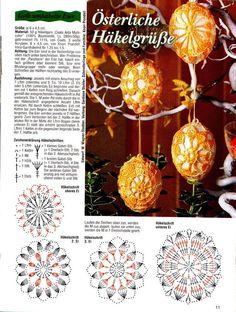 Christmas Crochet Patterns Part 9 - Beautiful Crochet Patterns and Knitting Patterns Crochet Diagram, Crochet Motif, Crochet Doilies, Egg Crafts, Yarn Crafts, Easter Crafts, Crochet Stone, Crochet Rings, Christmas Crochet Patterns