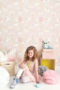 Magical Unicorn Wallpaper In Pastel Mint Or Pink by Nubie Modern Kids Boutique, the perfect gift for Explore more unique gifts in our curated marketplace. Unicornios Wallpaper, Wallpaper Stores, Interior Wallpaper, Nursery Wallpaper, Couleur Rose Pastel, Pastel Mint, Pale Pink, Cool Kids Rooms, Modern Kids