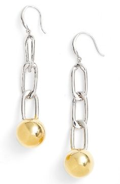 Free shipping and returns on Argento Vivo Chain Ball Drop Earrings at Nordstrom.com. Two-tone metal gives maximum versatility to these linear earrings, gleaming all the way down to the rounded endcaps.