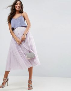 aeaebba03b9 ASOS Tiered Tulle Prom Skirt with High Waisted Detail - Purple Everyday  Casual Outfits