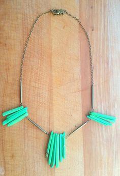 Green Howlite and Antique Bronze Statement Necklace by KareKareOriginals on Etsy