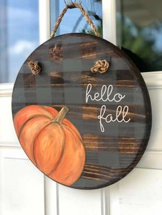 Fall Wood Signs, Fall Signs, Wooden Painting, Wooden Door Signs, Pumpkin Door Hanger, Wood Wreath, Fall Door Hangers, Wooden Pumpkins, Wood Crafts