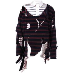 Charles Jeffrey Loverboy distressed striped sweater (€315) ❤ liked on Polyvore featuring men's fashion, men's clothing, men's sweaters, blue, mens blue sweater, mens ripped sweater and mens striped sweater