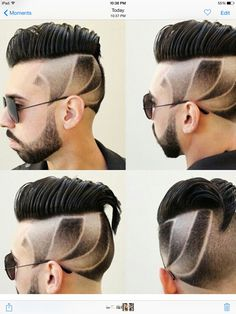 Classic men's haircut with part an faded designs