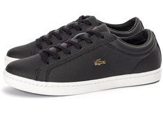 Lacoste Straightset noire et or Lacoste Sneakers, Baskets, Gentleman, Men's Shoes, Converse, Slip On, Footwear, Men's Coats, Elegant