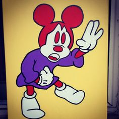 Painting by Thomas Valentine Mickey Mouse Art, Minnie Mouse, Deaf Sign, Smurfs, Disney Characters, Fictional Characters, Painting, House, Home