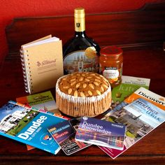 Selection of treats from trip to Dundee, Scotland including Dundee Cake, marmalade and German wine from twinned town in Bavaria
