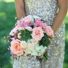 berry pink and cream wedding | Peach, Pink, Green, and Cream Bridal Bouquet // photo ... | love flow ...