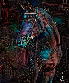 Colorful Animal Paintings, Colorful Animals, Horse Artwork, Horse Pictures, Animal Pictures, Art En Ligne, Blue Horse, Lighted Canvas, Art Original