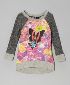 Take a look at this Pink & Gray Butterfly Raglan Sweatshirt by Forever Me on #zulily today!