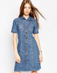ASOS Denim A-line Midi Dress in Mid Wash Blue With Turn Up Sleeve