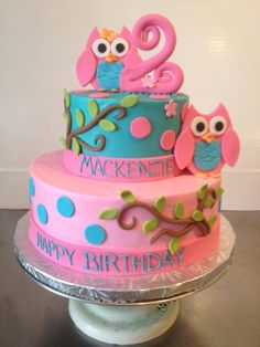 Owl cake _ Brooke birthday- she said less pink though