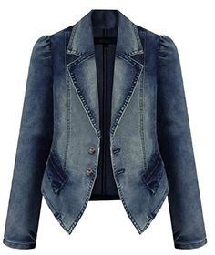 690cbe95e0b4 ARRIVE GUIDE Womens Classic Lapel Slim Button Irregular Denim Jacket Coat  Cowboy blue XL Blazer Jeans