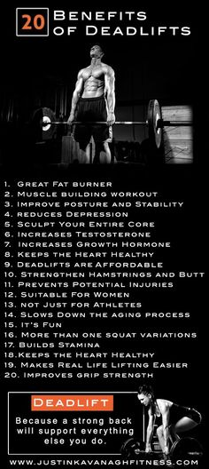 Without question, deadlifts are one of my favorite compound exercises after the squat. Here are 20 benefits of deadlifts which you probably never knew. For More Health And Fitness Tips Visit Our Website Fitness Workouts, Fitness Motivation, Fitness Tips, Health Fitness, Powerlifting Motivation, Muscle Training, Weight Training, Strength Training, Weight Lifting