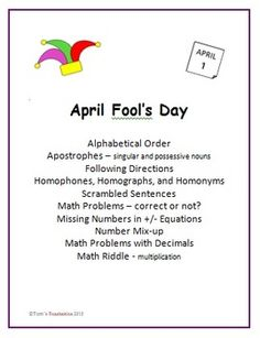 This 20 page set is about April Fool's Day and tricky topics.  There is an alphabetical order page, using words like prank, trick, comical, and amusing.  There is also a scrambled sentences page about April Fool's Day.  There are pages that cover topics that are tricky to students.