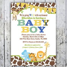 Safari Baby Shower Invitations Jungle Animal by BigDayInvitations, $12.49
