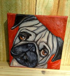 """6""""x6"""" Hand Painted Pug from """"Ready to Adopt"""" series.  This painting is finished and ready to ship fromhttp://www.etsy.com/shop/JosieBloomArt"""