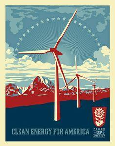 """Clean energy for America"", Shepard Fairey"