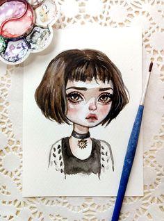 Original watercolor art in the format of a postcard. Mathilda.