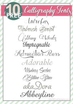 Fabulous Calligraphy Fonts that are perfect for Wedding and Shower Invitations, DIY projects and more!   www.MoritzFineBlogDesigns.com