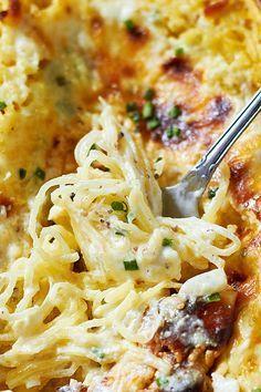Baked Four Cheese Garlic Spaghetti Squash — A shockingly good alternative to Alfredo pasta! eatwell101.com