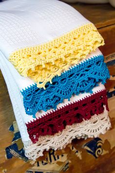 Kitchen Towel - Decorative - Crochet Edging - Waffle Towel - Gift - Choose Your Color