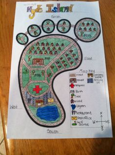 Barefoot Island Community Map Project for 2nd grade TEKS map skills. Student gets outline of foot and has to add everything else: map key, compass rose, title, cardinal directions, draw and label.