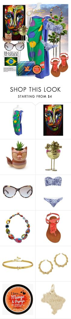 """""""Brazilian summer"""" by daincyng ❤ liked on Polyvore featuring Yves Saint Laurent, Louis Vuitton, NOVICA, Michael Kors, Boohoo, Jackie Brazil, Kenneth Jay Lane, Rembrandt Charms, Brazil and stylen"""