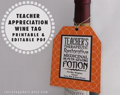 Teacher Appreciation Gift Wine Bottle Label  Apples For The