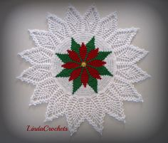 """Linda Crochets: I present to you the """"Poinsettia Tapestry Doily"""""""