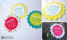 "free printable tags for mother's day gifts -- add scallop shapes from your own favorite scrapbooking paper to make ""flowers""."