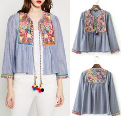 Hippie Colorful Floral Embroidery Stripe Blouse Pompom Cardigan Jacket
