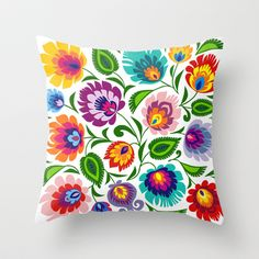Folk Art Grassland Throw Pillow by bachullus - Mexican Embroidery, Folk Embroidery, Hand Embroidery Designs, Hand Embroidery Stitches, Embroidery Techniques, Embroidery Patterns, Floral Pillows, Decorative Pillows, Polish Folk Art