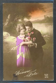 PM061-ART-DECO-FASHION-COUPLE-Romance-KITSCH-FRENCH-Tinted-PHOTO-pc