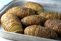 Hasselback potatoes.  Our new favorite way to side dish.  This technique also works well with sweet potatoes.