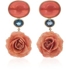 Bahina 18K Yellow Gold Coral Venetian Glass Cameos Earrings ($2,250) ❤ liked on Polyvore featuring jewelry, earrings, multi, yellow gold jewelry, gold cameo earrings, coral jewelry, coral earrings and glass earrings