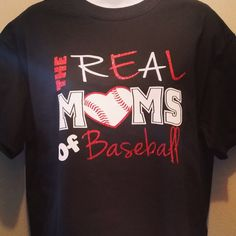 baseball shirt real mom's of baseball baseball by Rocknmamadesigns Real Moms, Baseball Shirts, Diy Projects To Try, Rock, Trending Outfits, Tees, Mens Tops, Design, Fashion