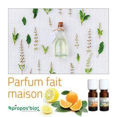 Parfum fait maison  Dans 38 ml d'alcool ; ajoutez : - 1ml d'huile essentielle de Citron - 3 ml d'huile essentielle d'Orange - 4 gouttes d'huile essentielle de Verveine exotique - 8 ml d'hydrolat de Cassis. Un Parfum fruité, à l'odeur de l'été !