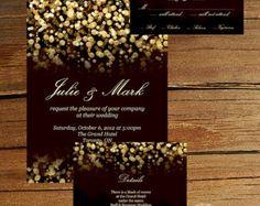 Gold Glitter Gatsby Wedding Invitation #elegantstyle