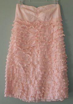 J Crew pink ruffled strapless cotton dress womens size M #JCrew #Strapless #Casual