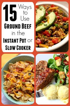 Have a pound of ground beef or ground turkey hanging out in your fridge or freezer? Want to mix it up and make something other than spaghetti? Here are 15 ways to use ground beef in the instant pot or slow cooker to give you some ideas on what to make for dinner tonight! #instantpot #instapot #slowcooker #crockpot #beef #groundbeef