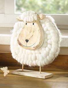 12,5 x 9cm u Tiere 8 x 5 cm Ostern Frühling Figuren, Schafe aus Wolle