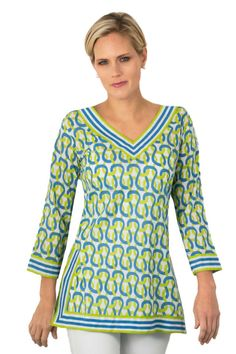 Classic V-Neck Hand Printed Tunics - Gretchen Scott Designs