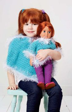 """They're best friends who go everywhere together. And they share stories all day, because Dolly never gives your little girls secrets away. So why not create a special gift for the two of them? Crochet a matching pair of ponchos for you princess and her 15-18"""" high doll. http://www.maggiescrochet.com/collections/new/products/wraps-for-dolly-me"""