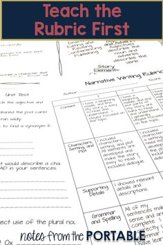 Writer's Workshop Classroom Management - Teach the Rubric First!