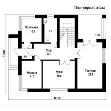 Проект коттеджа Проект дома из пеноблоков с мансардой, балконом, террасой 11х14 KU-103-P. Floor Plans, Projects, Villa, Life, Log Projects, Blue Prints, Fork, Villas, Floor Plan Drawing
