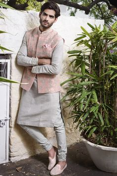 Shop Anushree Reddy - Men Embroidered Bundi With Kurta & Churidar , Exclusive Indian Designer Latest Collections Available at Aza Fashions Wedding Kurta For Men, Wedding Dresses Men Indian, Wedding Dress Men, Indian Weddings, Wedding Attire, Wedding Outfits For Men, Punjabi Wedding, Pakistani Dresses, Indian Dresses