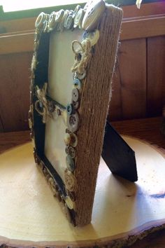 Country vintage button double picture frame by BurlapbuttonsNmore