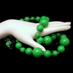Vintage Long Necklace Large Chunky Bright Green Beads 26.5 Inches - This necklace is a classic statement piece. Add to a fun fall outfit for a pop of color or pair with your favorite LBD for some vintage charm. #MyClassicJewelry #Necklace #Green #Vintage https://www.etsy.com/listing/150161589/vintage-long-necklace-large-chunky?ref=shop_home_active_7