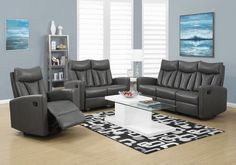 Hawthorne Ave Reclining Love Seat Charcoal Grey Bonded Leather I 2 Living Room Sets, Living Spaces, Leather Reclining Loveseat, Furniture Depot, Recliner, Sofas, Love Seat, Diy Home Decor, Couch